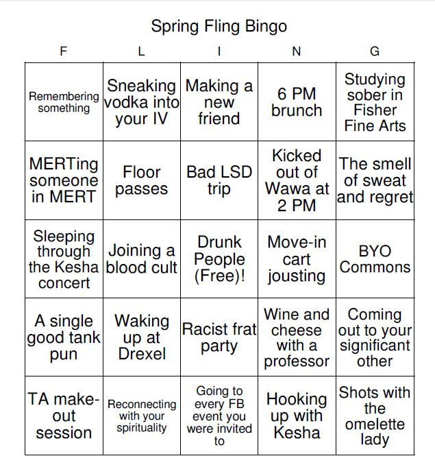 spring fling bingo 2