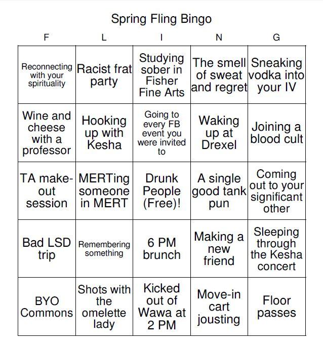 spring fling bingo 5