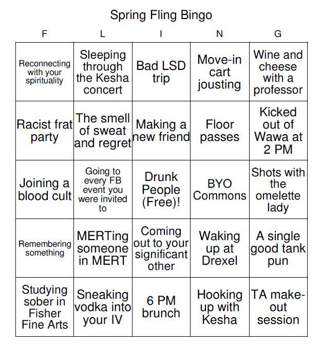 spring fling bingo 7